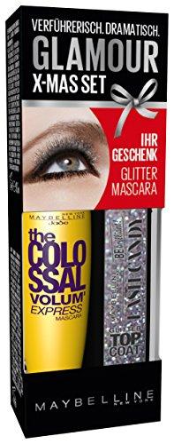 Maybelline New York Augen Make-Up Set Mascara The Colossal Volum' Express brown plus glitzer Top Coat / Wimperntusche und Candy Glitter TopCoat (einmal Auftragen - kolossales Volumen) braun