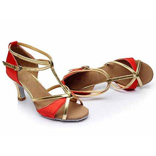 HROYL Damen Tanzschuhe/Latin Dance Schuhe Satin Ballsaal Modell-D7-255 7CM Rot