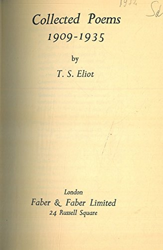 Collected poems 1909-1935.