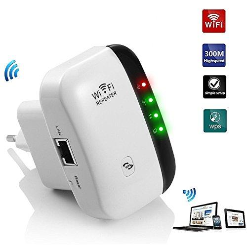 Foto de Aivake Extensor de red WiFi 300Mbps Repetidor señal WiFi Enrutador inalámbrico Extensor de Rango AP Amplificador WiFi Punto acceso(2 antenas internas, puerto Fast Ethernet, 2,4 GHz, WPS)