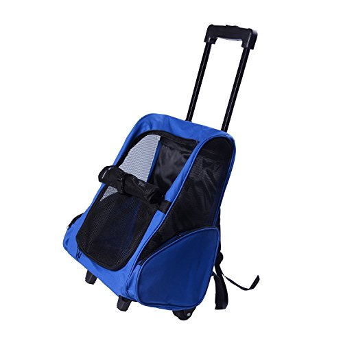 PawHut D1-0011 Hunde Transporttasche Trolley, blau