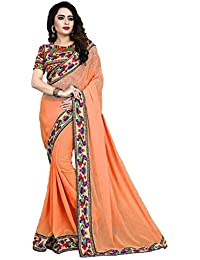 Fancy Saree Printed Lace Borderd Georgette Saree With Printed Blouse Piece.