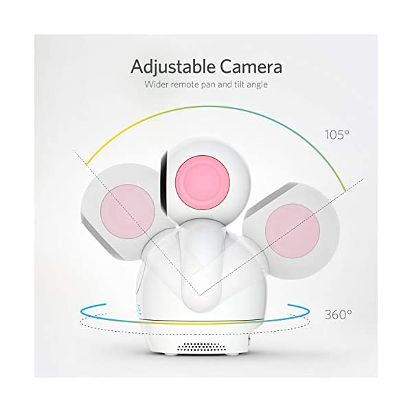"""HOMIEE 720P Wireless Video Baby Monitor with 5"""" HD LCD Digital Screen & Robot Appearance Camera, Two Way Audio, Sound & Temperature Alert, Low Battery Alarm, Night Vision with 1000ft Range (Pink) HOMIEE 【5"""" Large Rechargeable Color LCD Monitor】Equipped with super large 5 inch full color HD LCD screen with 1280 x 720 resolution, HOMIEE baby monitor offers the most vivid visual experience 【Upgraded Unique Robot Appearance Camera】Up to 4 cameras can be hooked up to the monitor for more babies. The robot can be wireless controlled to rotate about 360 degree horizontally, to bow and lie down between 105 degree at most 【2.4GHz Wireless Connection Technology】No need to connect WIFI, needless of 3G/4G mobile data traffic, the 2.4GHz wireless technology provides 100% digital privacy and security, with range up to 1000ft in open space. Night vision is also supported 3"""