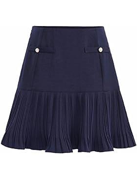 QPSSP-Una falda corta una palabra Falda Pack de cintura alta y un centenar de pliegues en la falda falda Mujer...