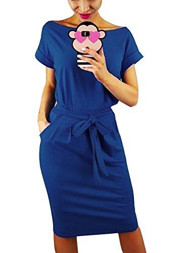 Yieune Sommerkleid Damen Lose Abendkleid Einfarbig Knie Lang Kleider Elegant Strandkleid Minikleid (Blau M)