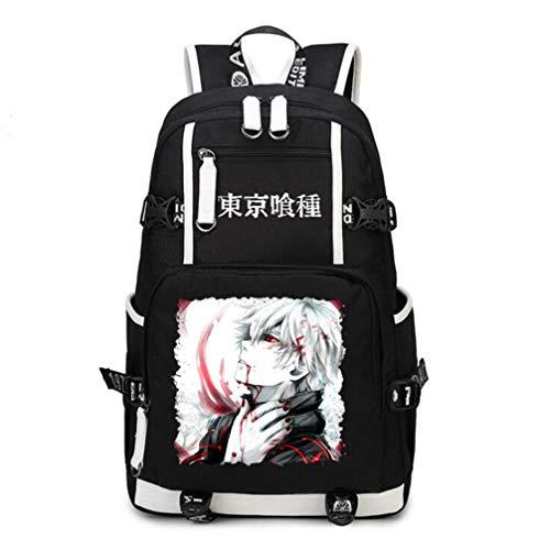Ghoul Anime Casual Große Kapazität Canvas und PU Rucksack Daypack Laptop Tasche Umhängetasche College-Tasche ()