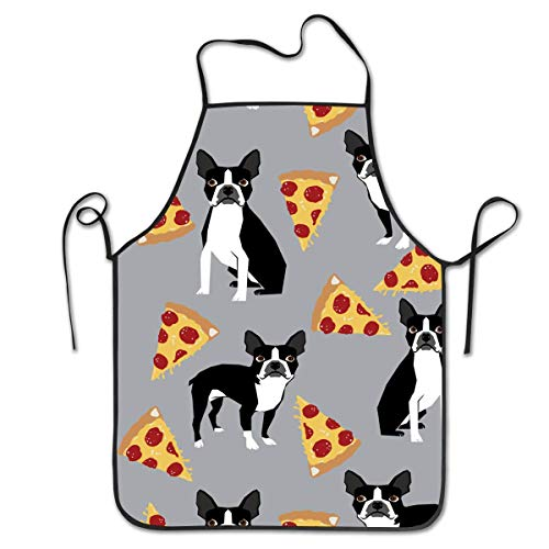 HTETRERW Grey Boston Terrier Dog Pizza Aprons for Men - Cooking, Kitchen, BBQ Aprons, Unique and Stylish Protective Bib, Water and Oil Proof for Chef, Waiter, Veterinary, Barber, Cleaner (König Bob Kostüm)