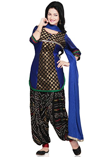 Utsav Fashion Chanderi Brocade and Dupion Silk Punjabi Suit in Royal Blue...