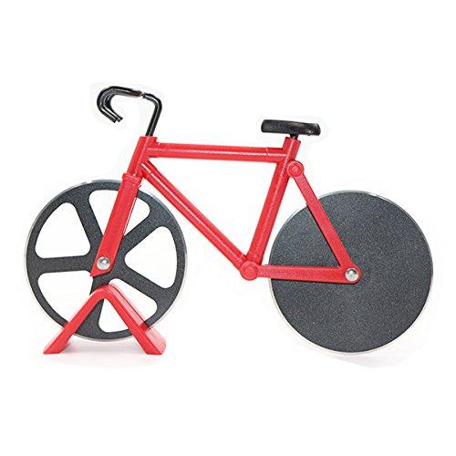 Pastry Wheel Cutter (HanDingSM Fahrrad-Pizzaschneider, doppelte Schneide aus Edelstahl, Antihaftbeschichtung, Schneide-Räder mit Ständer rot)