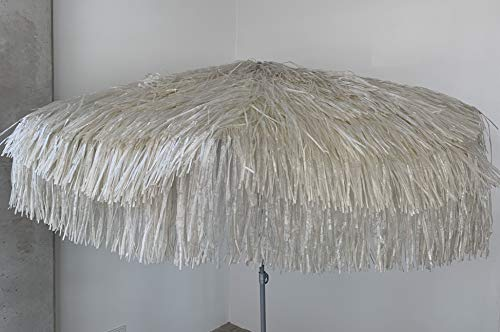 Jan Kurtz Hawaii Sonnenschirm, Natur - BEIGE, Raffiabast - Polyester, Metallgestell lackiert, mit Knickgelenk Ø 180/200cm, Partyschirm, Dekoschirm