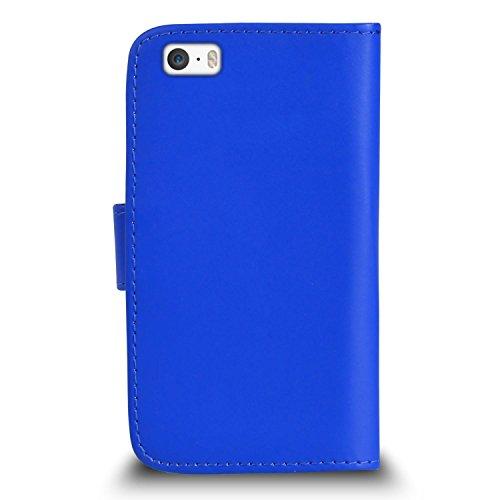 POUR Apple iPhone 5 / 5S - SHUKAN® Prime Cuir NOIR Portefeuille Cas Coque Couverture avec Mini Toucher Style Stylo VERT Cap Protecteur d'écran & Tissu de polissage BLEU