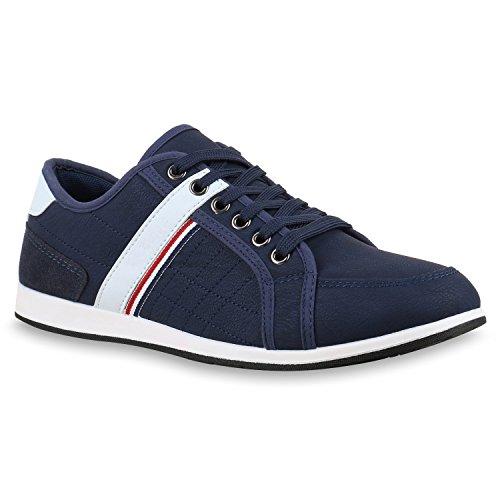 Herren Sneakers Gesteppt | Denim Sportschuhe | Sneaker Low | Turnschuhe Schnürer |Freizeit Schuhe Leder-Optik Dunkelblau Dunkelblau
