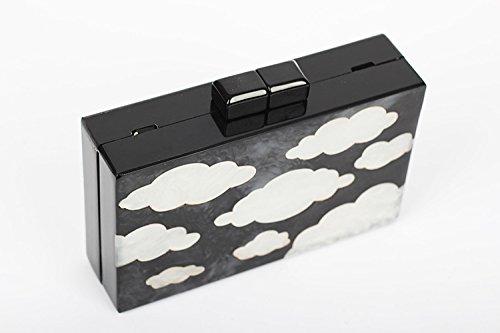 Zarapack da donna Cloud Perspex Frizione Borsa con catena Black