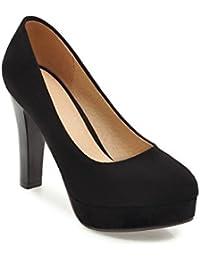 Muelle de satén de cabeza redonda luz de tacón alto de grueso con gran número ,negro,36 singles femeninos zapatos