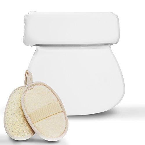 Pumpko ® Komfort Badewannenkissen mit Saugnäpfen INKL. 2 Peeling Pads aus Natur-Luffa | Wellness Erlebnis Nackenkissen | Badekissen in Weiß | Optimales Kopfkissen für Badewanne oder Whirlpool
