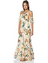 8ba0cc6059c7 Roman Originals Women Cold Shoulder Chiffon Floral Maxi Dress - Ladies  Loose Boho Bohemian Oriental Summer Short Sleeve Evening…