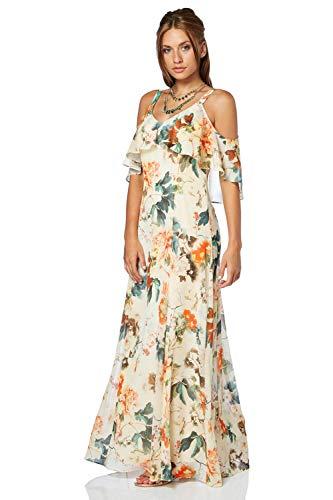 Roman Originals Damen Oriental Schulterfrei Chiffon Maxi-Kleid Orange - Orange - Größe 40 (Plus Größe Kreuzfahrt Kleider)
