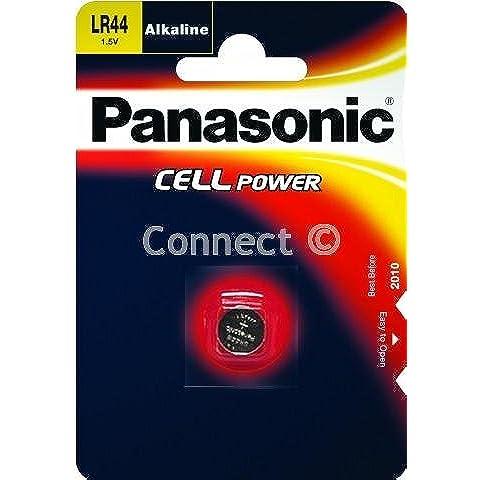 Panasonic batería LR44: Cámara, Reloj Pila alcalina LR44A76, 1,5V, 105mAh 5,4x 11,6mm Peso 2G (botón batería Pila de botón LR44AG13, intercambiables