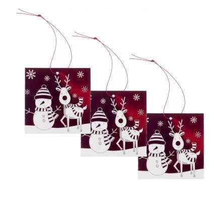 Whsmith Red Square Snowman & Rudy Christmas Gift tag (confezione da 6)