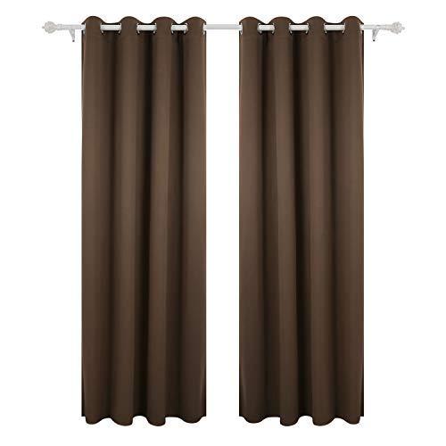 Deconovo Cortinas Opacas para Dormitorio y Salón Térmica Aislante con Ojales 140 x 260 cm 2 Paneles