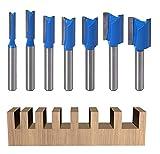Wsoox - Set di 7 punte dritte in carburo di tungsteno a doppia scanalatura, con gambo da 8 mm, per fresatura e scanalatura del legno