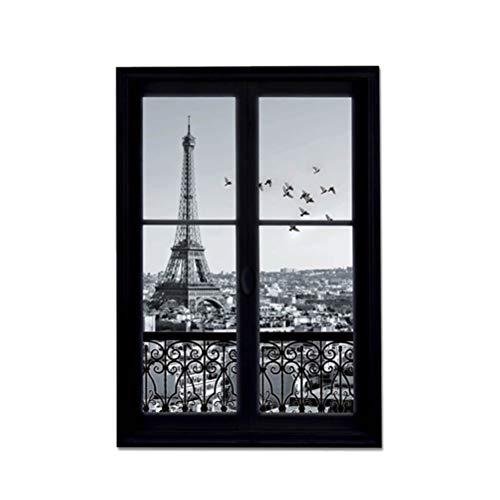 Vosarea Wandtattoo 3D Fensteraufkleber Eiffelturm Paris Stadt Abnehmbare Wand Kunst Dekor Vinyl Aufkleber Kinderzimmer Wandbild - Paris-wand-aufkleber