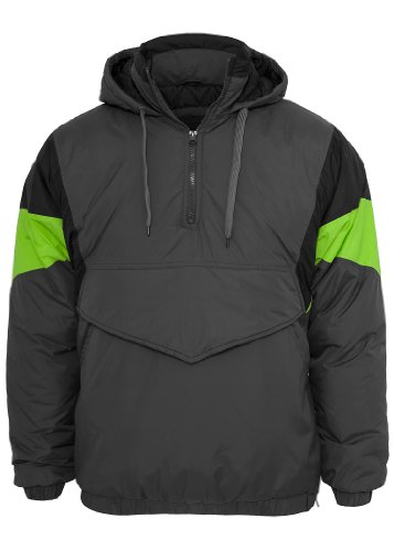 Urban Classics Nylon Hoody Windbreaker, darkgrey/black/limegreen darkgrey/black/limegreen