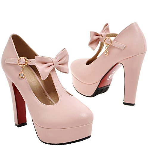 ... Damen Abend Heel Schleife spangen mit Elegant Schuhe Rosa Pumps  AIYOUMEI T High Plateau Blockabsatz acwq6Zqx1d 1c553366f6