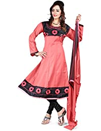 Jheenu Women's Gajri Cotton anarkali Embroidered Unstitched Dress Material