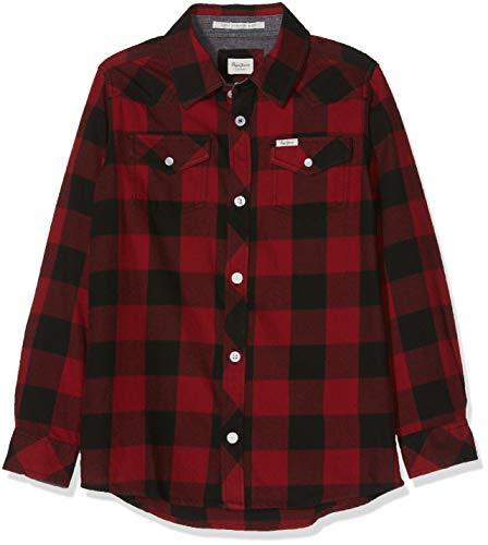 Pepe jeans riley jr pb301600 camicia, rosso (lotus red 296), 12 anni ragazzo