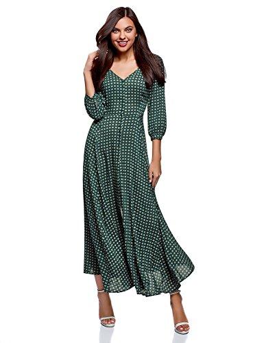 oodji Ultra Damen Maxi-Kleid mit Knöpfen, Grün, DE 40 / EU 42 / L