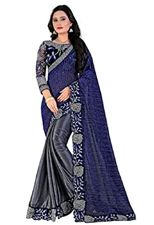 Siddeshwary Fab Women's Other Saree Blue And Grey