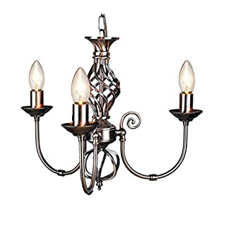 Traditional Classic Knot Twist 3 Light Antique Brass Ceiling Light Fitting / Lighting