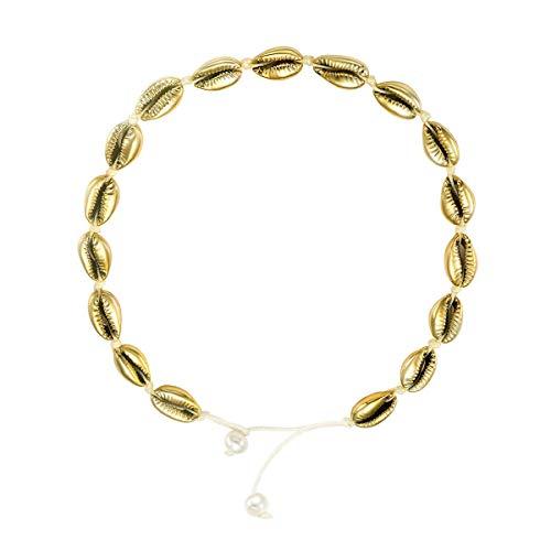 SIMPLOVE Natürliche Strand Muschelkette Choker Damen Handgemachte Seil Perlen Gold Kauri Muschel Anhänger Einstellbar, 40CM