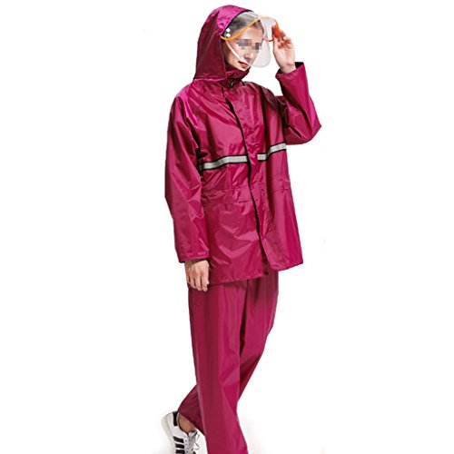 LAXF-Regenjacken Regen-Klage für Frauen wiederverwendbare Regenkleidung (Regen-Jacke und Regen-Hosen eingestellt) Erwachsene wasserdichtes regendichtes windundurchlässiges mit Kapuze arbeiten im Freien Motorrad-Golf-Fischen-wandernde Jagd-Gitter-Futter ( größe : XXL )