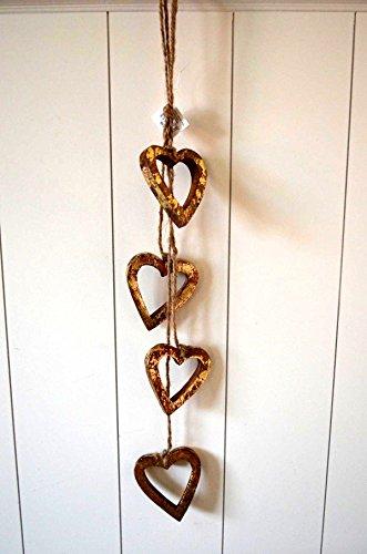Weihnachtsdeko Herz Hänger Fensterdeko Türdeko Baumschmuck Girlande aus Holz Gold Herz Shabby X-Mas Deko Weihnachten ca. 55cm Kranz Advent Winter -