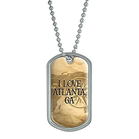 Dog Tag Pendant Necklace Chain City State Ab-Bu - Atlanta
