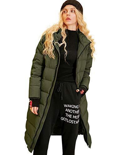 Elf sack Damen Daunenmantel Wintermantel mit Kapuze Parka Lang Leichte Daunenjacke Hooded Down Coat Olivgrün M (Down Coat Kapuze Damen)