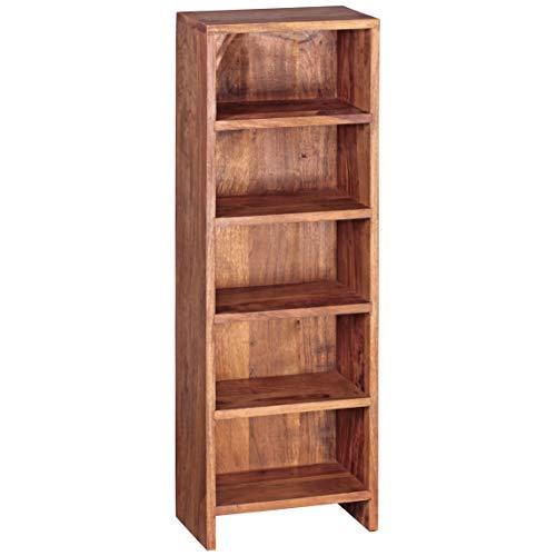 FineBuy CD Regal Massivholz Standregal 90 cm hoch CD-Aufbewahrung 5 Fächer Bücherregal Natur Landhaus-Stil - Bücherregal Holz-5-regal
