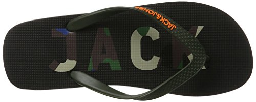 JACK & JONES Herren Jfwlogo Print Flip Flop Pack Zehentrenner Schwarz (Pirate Black)