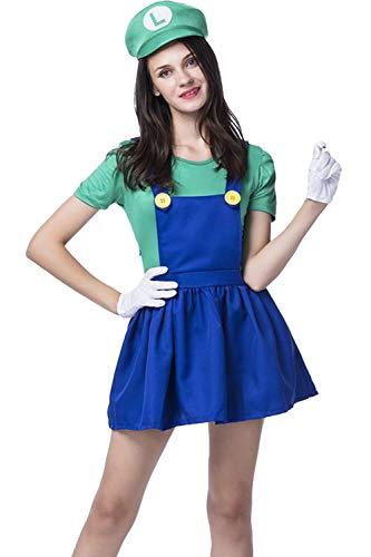 Vosujotis Frauen Ostern Kostüm Super Mario Süß Cosplay - Anzüge grüne - Super Frauen Kostüm