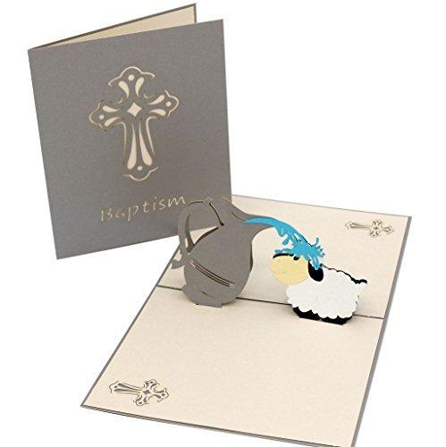 rtigt 3D Pop up Schaf Taufe Taufe Card Geschenk Thank You Grußkarte oder Einladungen mit Umschlag ()