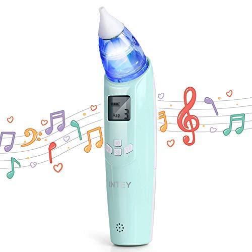 INTEY Baby-Nasensauger Elektrischer, Mini-Baby-Staubsauger, 3 Saugniveaus, LCD-Bildschirm, einstellbare Musik und Licht, Hygienische Sicherheit für Neugeborene und Kleinkinder