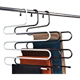 BRANDER Metal S-Shape 5 Layers Magic Hanger for Wardrobe, Sarees, Pants, Scarfs & Other Clothes(White){36 * 38CM}