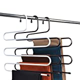 #7: BRANDER-Premium Quality Metal S-Shape 5 Layers Magic Hanger for Wardrobe, Sarees, Pants, Scarfs & Other Clothes(White){36 * 38CM}