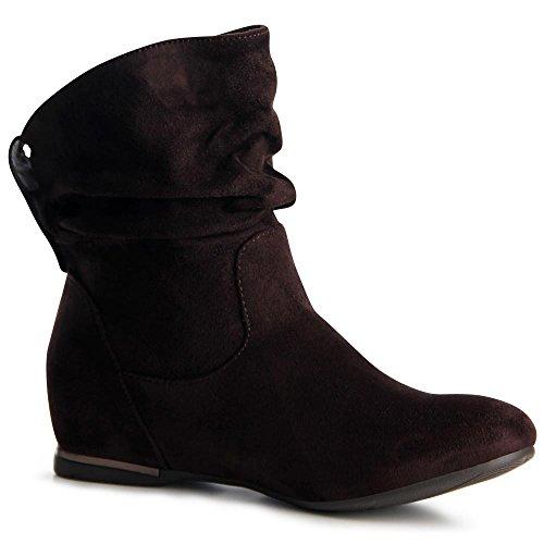 topschuhe24 887 Damen Keilabsatz Stiefeletten Boots Booties Braun