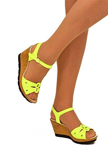 Robe Casual Everyday Chevillère Mid Talons Chaussures Sandales compensées. Jaune - jaune
