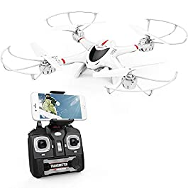 DBPOWER Drone con Telecamera, X400W FPV Quadricottero Wi-Fi per Video dal Vivo, Headless Mode, Stabile e Facile per Principianti ed Esercitazioni, Compatibile con Cuffie 3D VR, Bianco