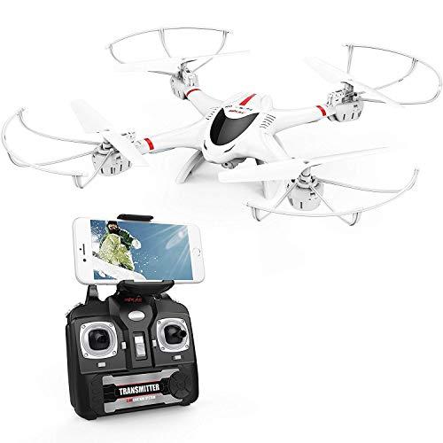 DBPOWER FPV RC Drohne mit Kamera HD 720P live übertragung WiFi FPV RC Quadrocopter für Anfänger 2.4 G 6-Achsen 4 Kanal Kopflos-Modus Höhe-Halten 3D-Flips und Rolle, Weiß -