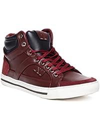 Numero Uno Men Maroon Solid Mid-Top Sneakers